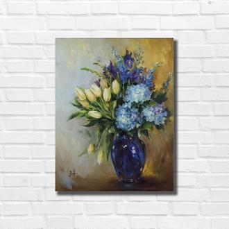 Картина маслом ′Букет в синей вазе ′ 45×35 см, холст на подрамнике, масло