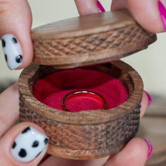 Весільна дерев'яна коробочка для кілець // Подарункова коробочка для кілець