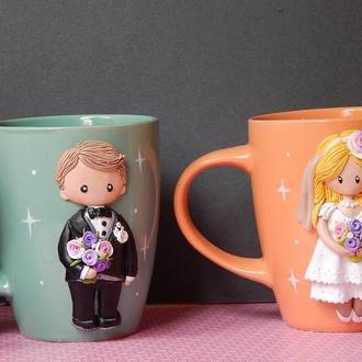 Чайная па Жених и Невеста.Кружки с женихом и невестой.Подарок на свадьбу.Кружки с полимерной глиной.