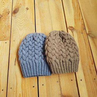 Теплая женская серо-синяя шерсть шапка