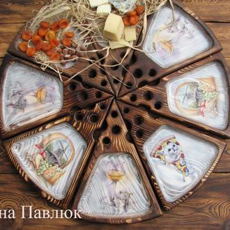 """Сырная тарелка """"Гурман"""", оригинальный подарок, для подачи сыра, закусок"""