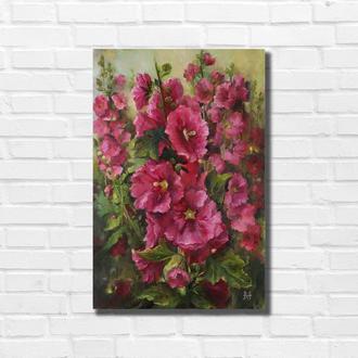 """Картина маслом """"Мальва в саду"""" 45×35 см, холст на подрамнике, масло"""