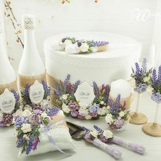 Лавандовый набор / Бокалы с лавандой / Сундук с лавандой / Лавандовая свадьба / Свадьба в фиолетовом