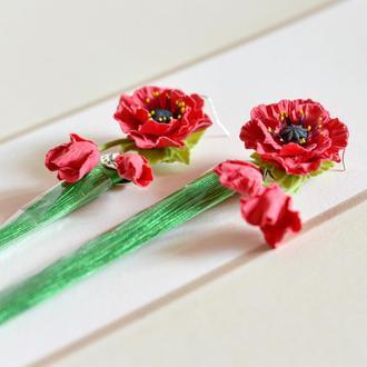 Сережки Маки Сережки з квітами Сережки квіти