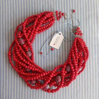Намисто червоне традиційне з керамічними намистинами