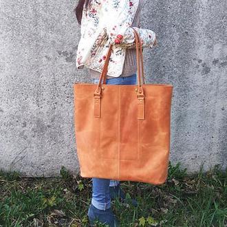 Большая коричневая кожаная женская сумка