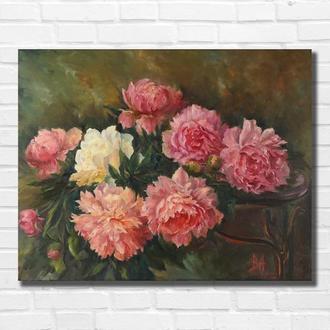 """Картина маслом """"Пионы"""" 35×45 см, холст на подрамнике, масло"""