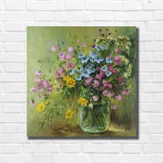 """Картина маслом """"Польові квіти"""" 40×40 см, полотно на підрамнику, олія"""