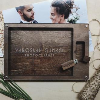 Деревянная коробочка под фотографии и флешку с нанесением именной гравировки