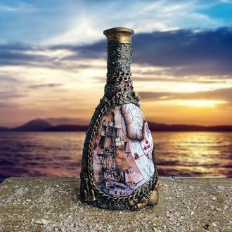 Сувенирная бутылка графин для алкоголя в морском стиле Подарок моряку на день морского флота