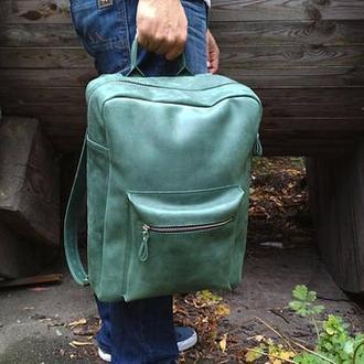 Большой кожаный зеленый рюкзак