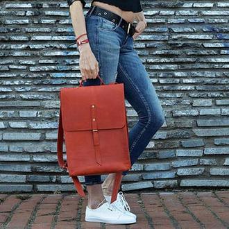 Большой кожаный женский красный рюкзак