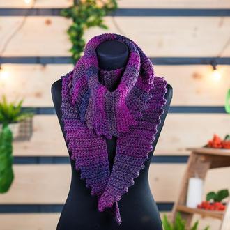 """Бактус шарф крупной вязки """"Черничный меланж"""""""