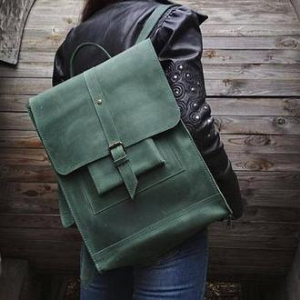 Большой зеленый кожаный рюкзак