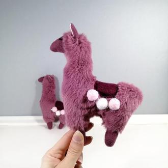 Розовая Лама Мягкая маленькая игрушка альпака из меха Милый декор