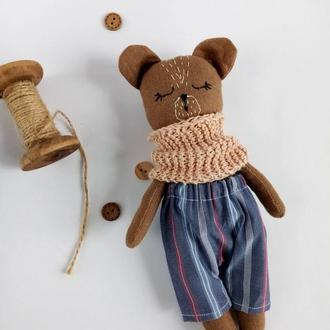 Сплюшка Мишка мимимишка игрушка Экоигрушка Медведь Коричневый льняной