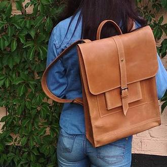 Большой коричневый кожаный рюкзак