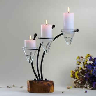 Подсвечник металлический с деревом. Подсвечник для больших свечей