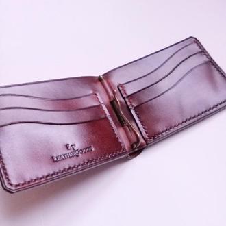 Кожаный кошелек с зажимом  и большим отделом для купюр