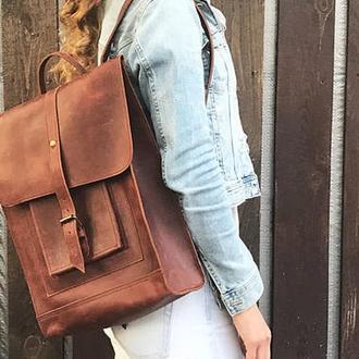 Большой кожаный коричневый рюкзак