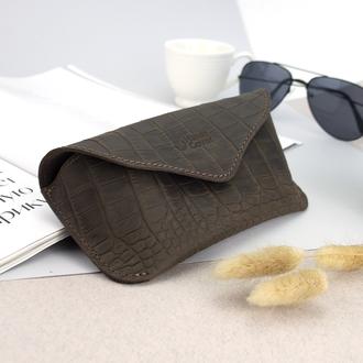 Футляр для очков кожаный Handycover HC0085 (коричневый крокодил)