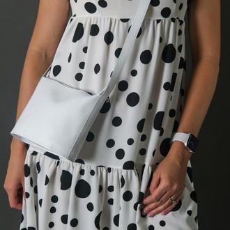 Кожаная женская сумочка Эллис, гладкая кожа, цвет белый