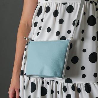 """Шкіряна жіноча сумочка """"Елліс"""", шкіра флотар, колір світло-бірюзовий"""