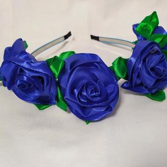 Ободок с синими розами Обруч на голову