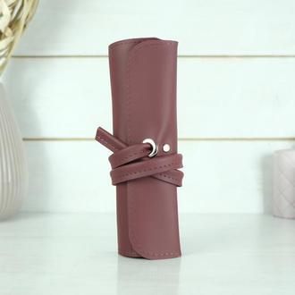 """Кожаный пенал """"скрутка на 4 кармана"""", кожа Grand, цвет бордо"""
