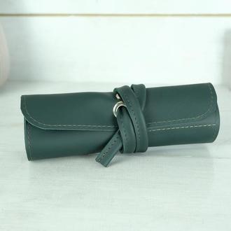 """Кожаный пенал """"скрутка на 4 кармана"""", кожа Grand, цвет зеленый"""