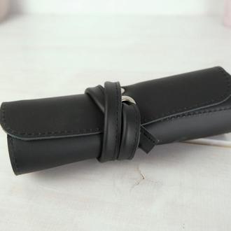 """Кожаный пенал """"скрутка на 4 кармана"""", кожа Grand, цвет черный"""
