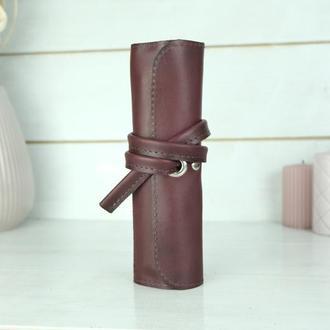 """Кожаный пенал """"скрутка на 4 кармана"""" кожа итальянский краст, цвет бордо"""