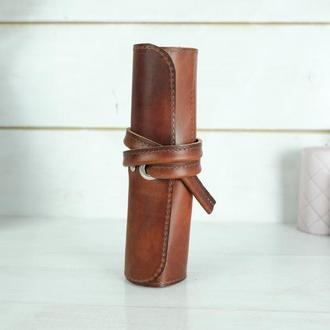 """Кожаный пенал """"скрутка на 4 кармана"""" кожа итальянский краст, цвет вишня"""