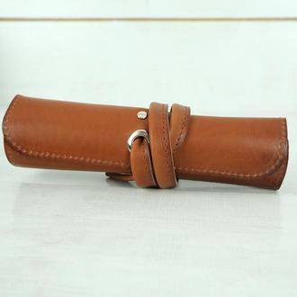 """Кожаный пенал """"скрутка на 4 кармана"""" кожа итальянский краст, цвет коричневый"""