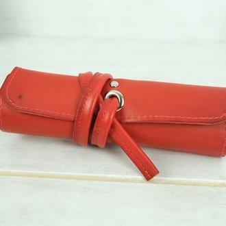 """Кожаный пенал """"скрутка на 4 кармана"""" кожа итальянский краст, цвет красный"""