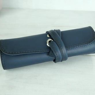 """Кожаный пенал """"скрутка на 4 кармана"""" кожа итальянский краст, цвет синий"""