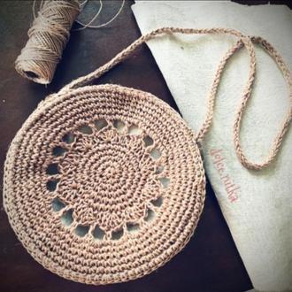 Сумка плетена з джуту, кругла таблетка бали