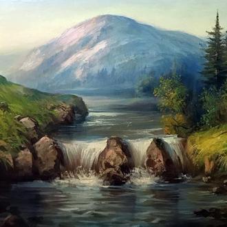 Картина маслом на полотні 50х70см пейзаж гір Карпат з великими каменями  і водоспадом ручна робота