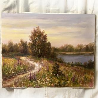 Красивая картина маслом на холсте 40х50см На берегу лета пейзаж река вода луг цветы луговые травы