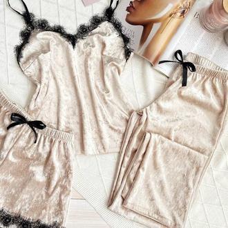 Нежный женский комплект для сна, штаны + майка + шорты