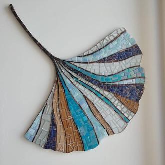Гинко-билоба, настенный декор из мозаики