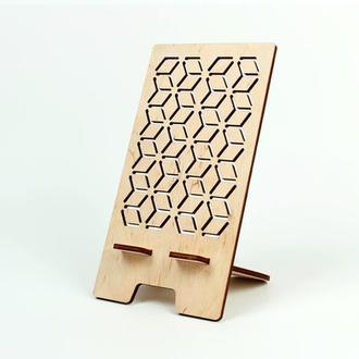 Подставка для телефона из фанеры с красивым геометрическим рисунком (2288)
