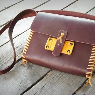 """""""Woodskin"""" дизайнерская сумка из натуральной кожи и дерева ручной работы"""