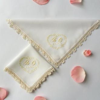 Свадебные платочки из шелка натурального с инициалами