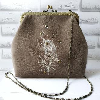 Женская сумка, сумочка на фермуаре, текстильная сумка
