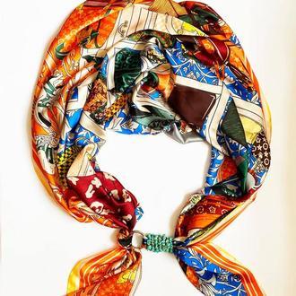 """Шелковый шарф """"Вечер в Сорренто"""", шарф-колье, шарф-чокер, шейный платок"""