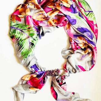 """Шелковый шарф """"Тропиканка"""", атласный платок, шарф-колье, шарф-чокер, шейный платок"""