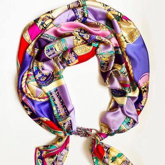 """Шелковый шарф """"Санторини"""", атласный платок, шарф-колье, шарф-чокер, шейный платок"""