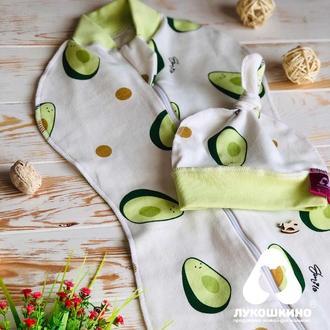 Трикотажная евро пеленка кокон для новорожденных для немовлят на молнии в комплекте с шапочкой