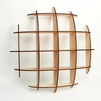 Дизайнерские полки на стену 52х52х13 см из фанеры (2310)